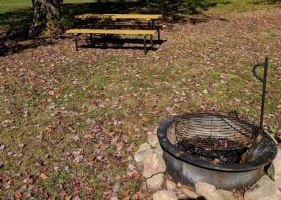 Fire ring and picnic table at tiny houses